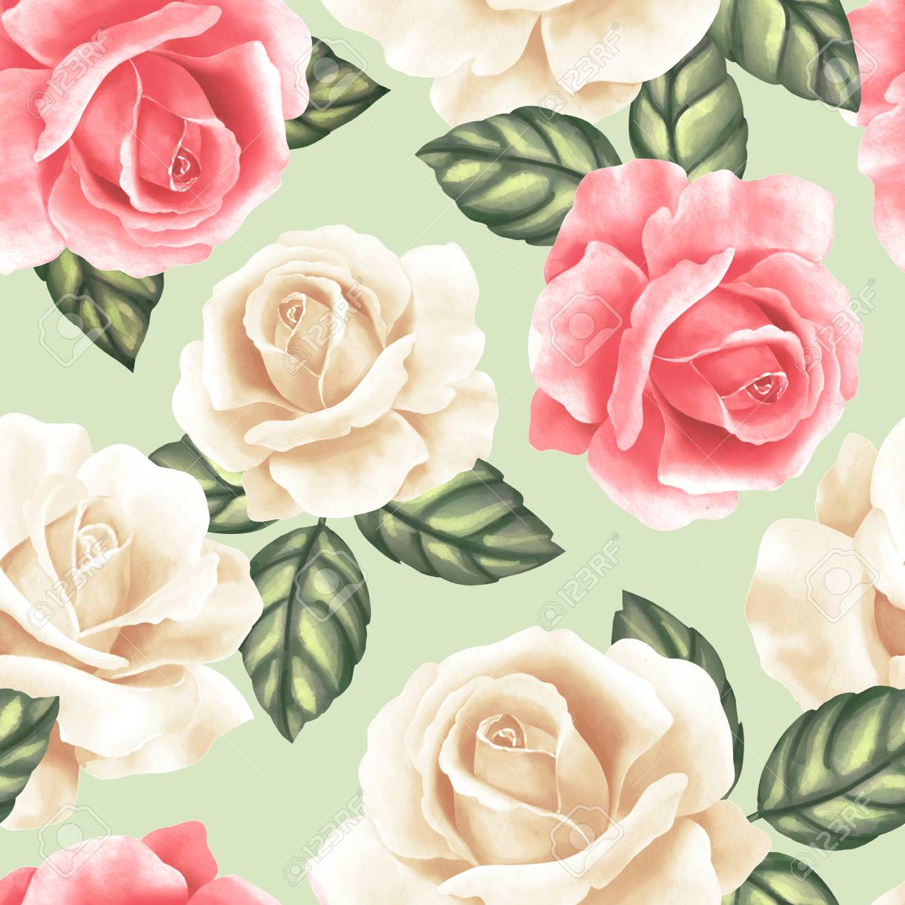 Seamless pattern with flowers and leaves. Delicate floral background with roses - 120180897