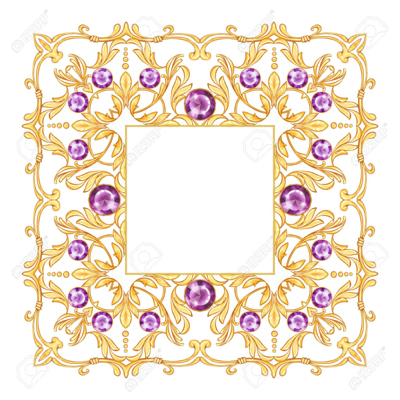 Golden Gewelry Frame With Decorative Scrolls And Gems