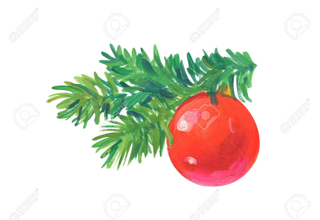 christmas tree toy Hand drawn acrylic or gouache illustration on white background - 163875377