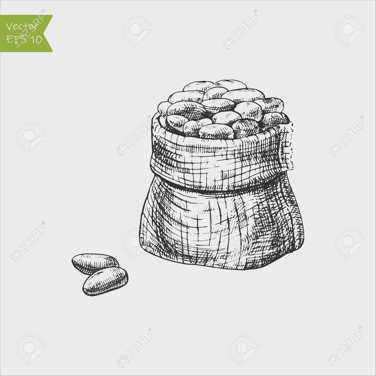 A bag of cocoa beans, or coffee. Broken fruit. - 163875421