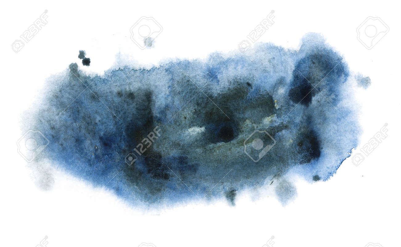 Deep gray stain of watercolor paint. Watercolor background with paper texture. - 163875455