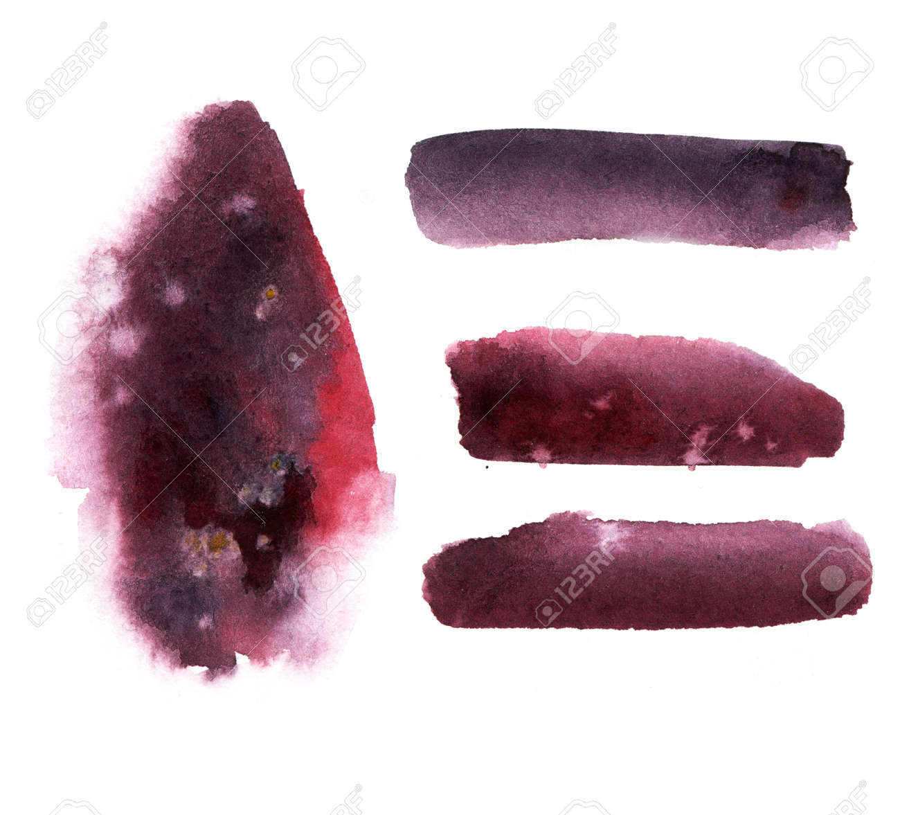 Set of watercolor stain. hand drawn Spots on a white background. Watercolor texture with brush strokes. - 163875469