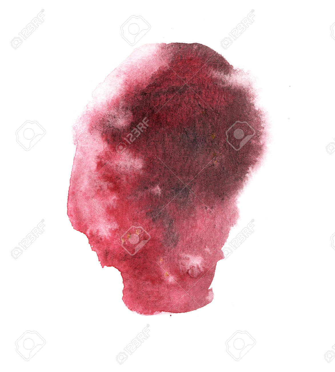Bright red watercolor stain with watercolor paint stroke - 163875477
