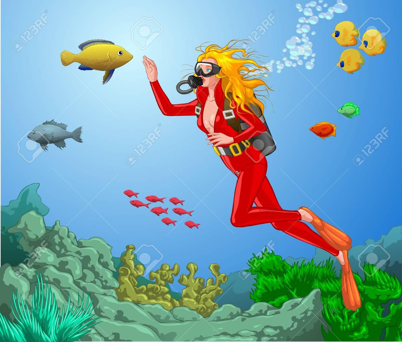 Gorgeous Woman Scuba Diver Scuba Woman Diver Scuba