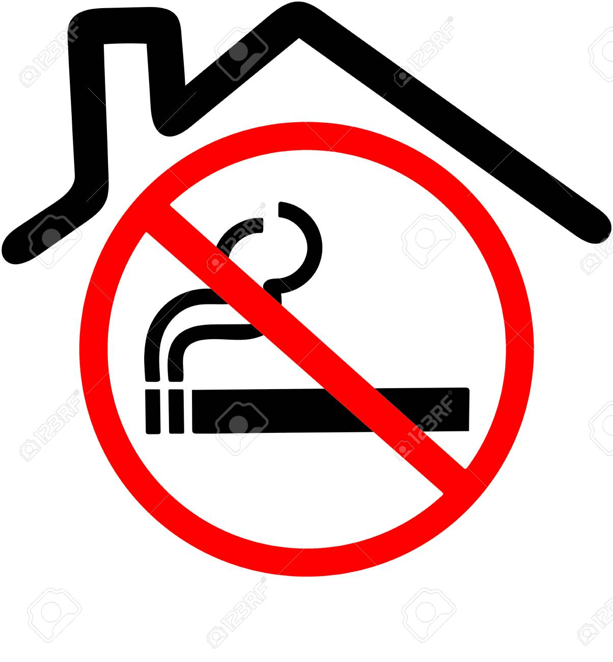 smoking not allowed in the house or closed area sign red rh 123rf com