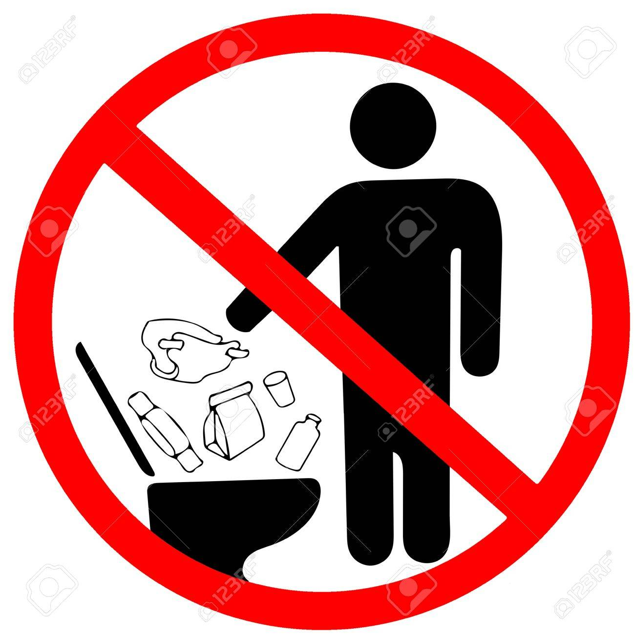 Do Not Litter In Toilet Icon Keep Clean Sign No To Throw Garbage