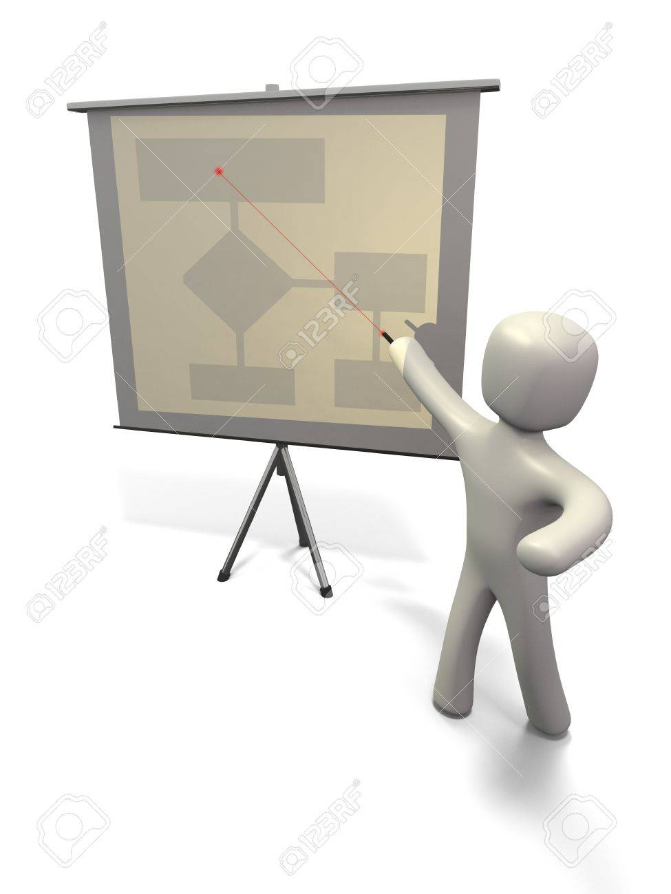 3d render of figure pointing to projection screen with red laser
