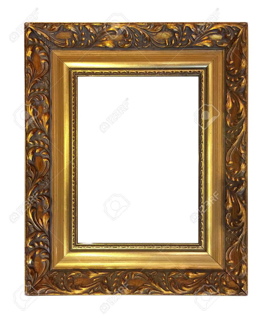 Antike Goldener Rahmen Isoliert Auf Weißem Hintergrund Mit Clipping ...
