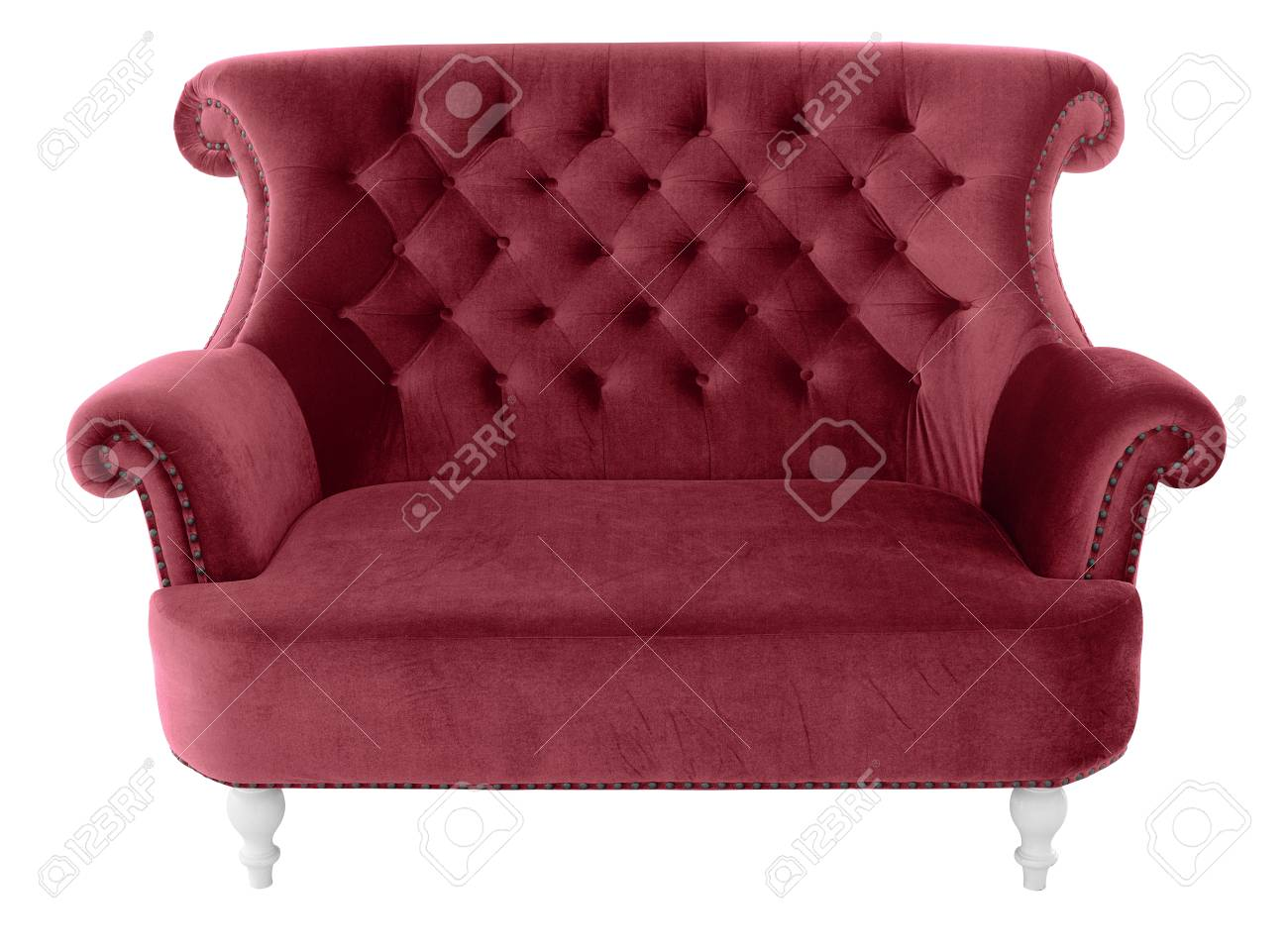 Admirable Red Vintage Sofa Furniture Isolated On White Background With Complete Home Design Collection Papxelindsey Bellcom