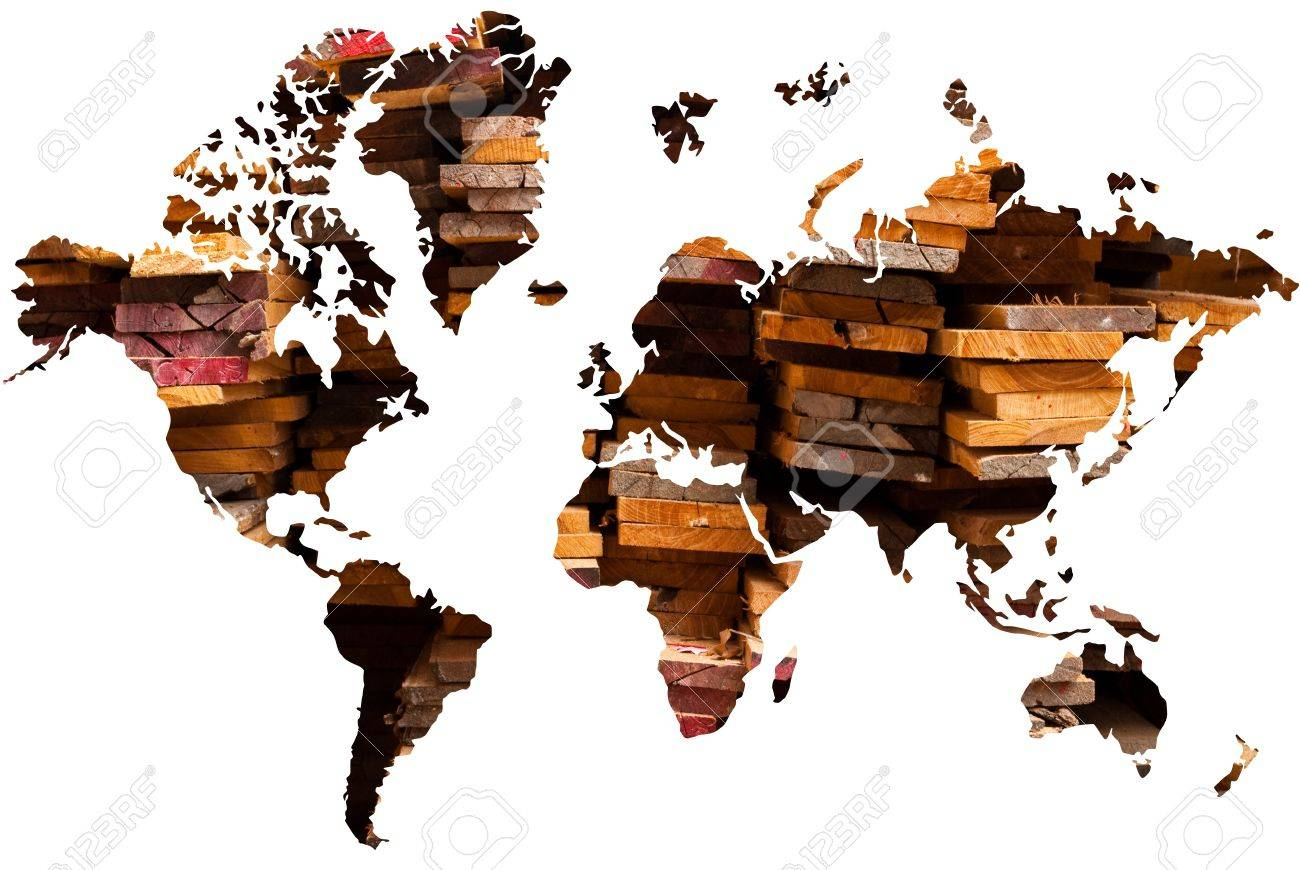 World map background with wood texture. Stock Photo - 9052056