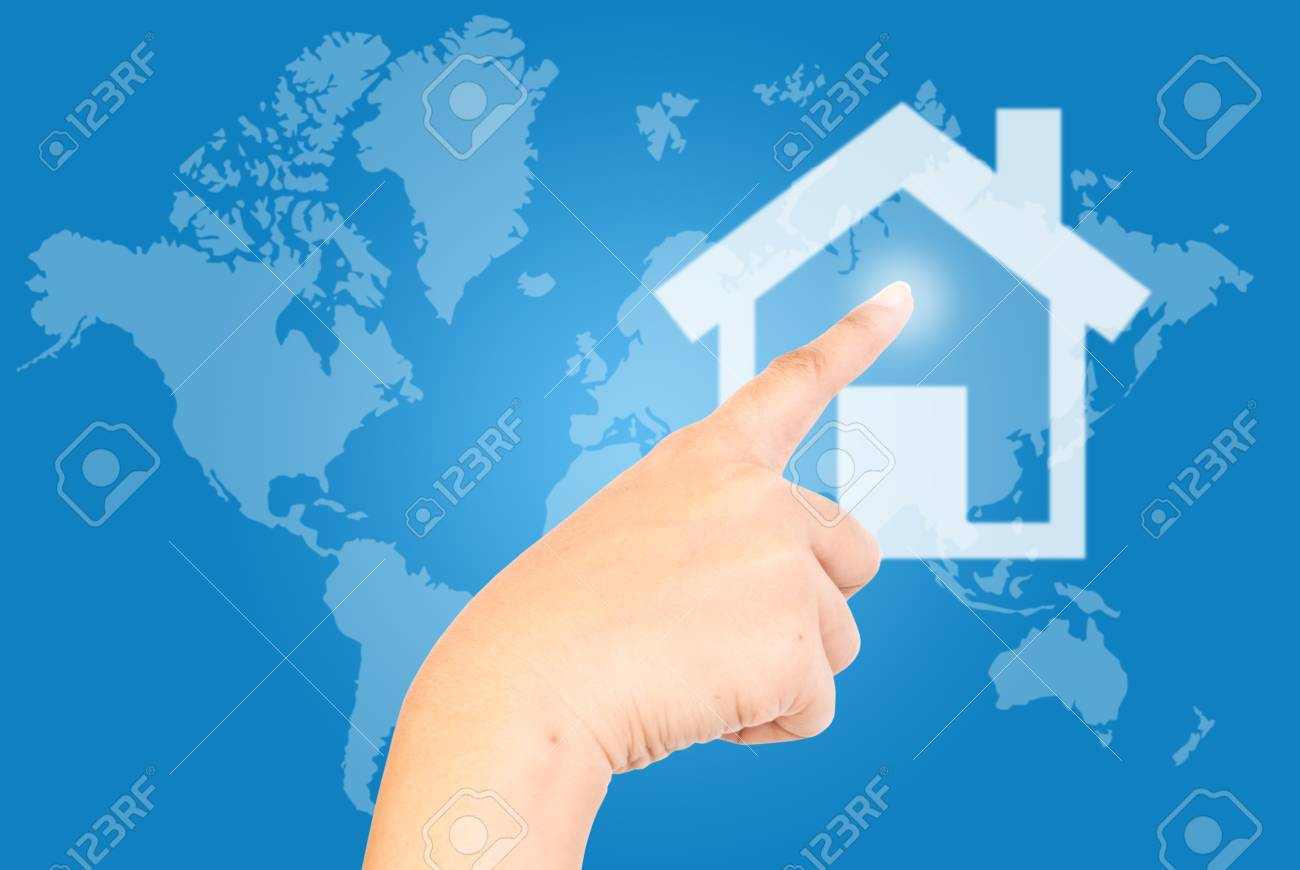 Single finger press the home on world wide. Stock Photo - 9595684
