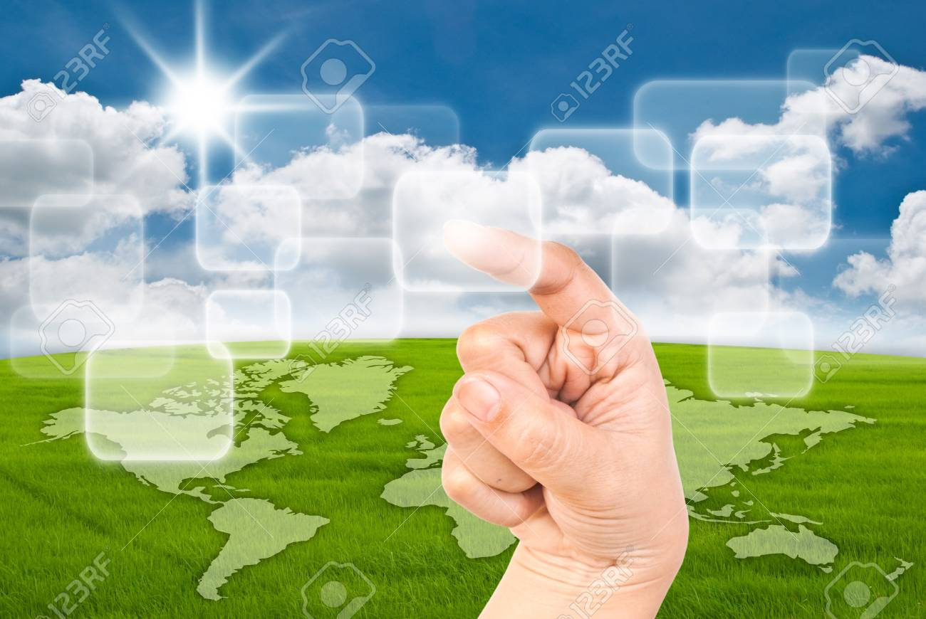 Business lady pressing digital button on the blue sky field. Stock Photo - 10918286