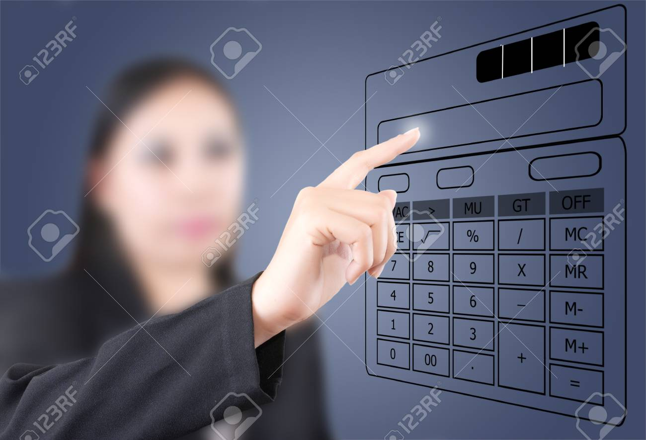 Asian business lady pushing calculator on the white board. Stock Photo - 11064718