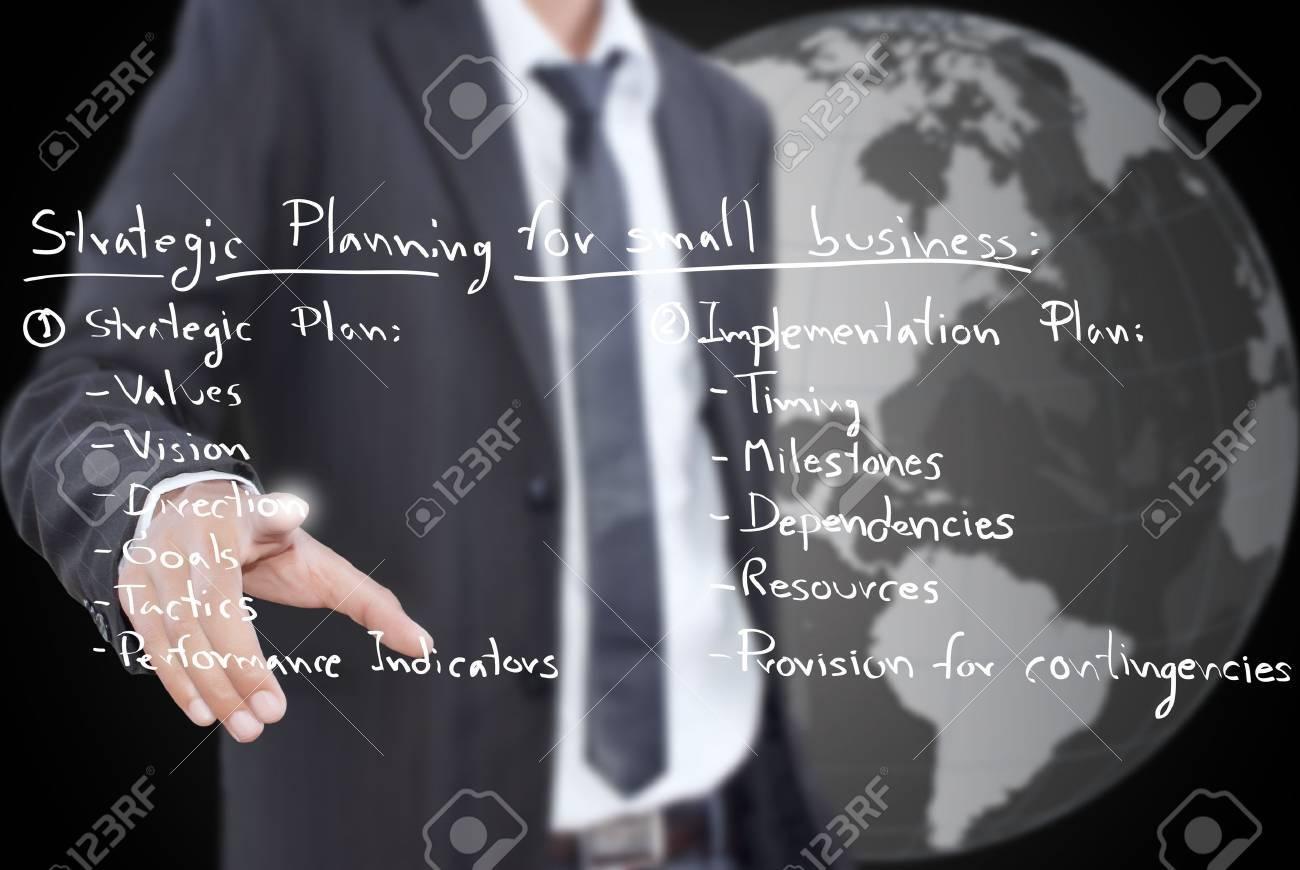 Businessman pushing business strategic planning on the whiteboard. Stock Photo - 11742703