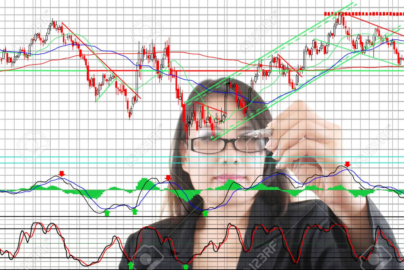Business lady pushing graph for trade stock market on the whiteboard Stock Photo - 12660419