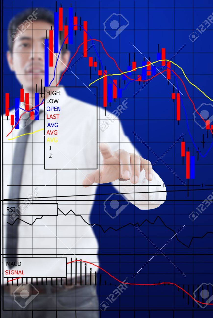 Businessman pushing finance graph for trade stock market on the whiteboard Stock Photo - 13015449