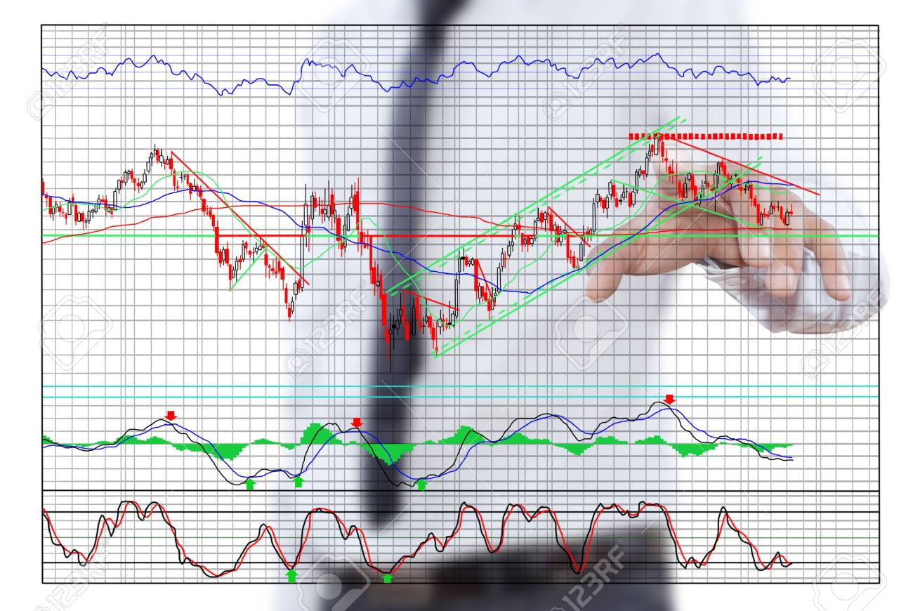 Businessman pushing finance graph for trade stock market on the whiteboard Stock Photo - 13435895