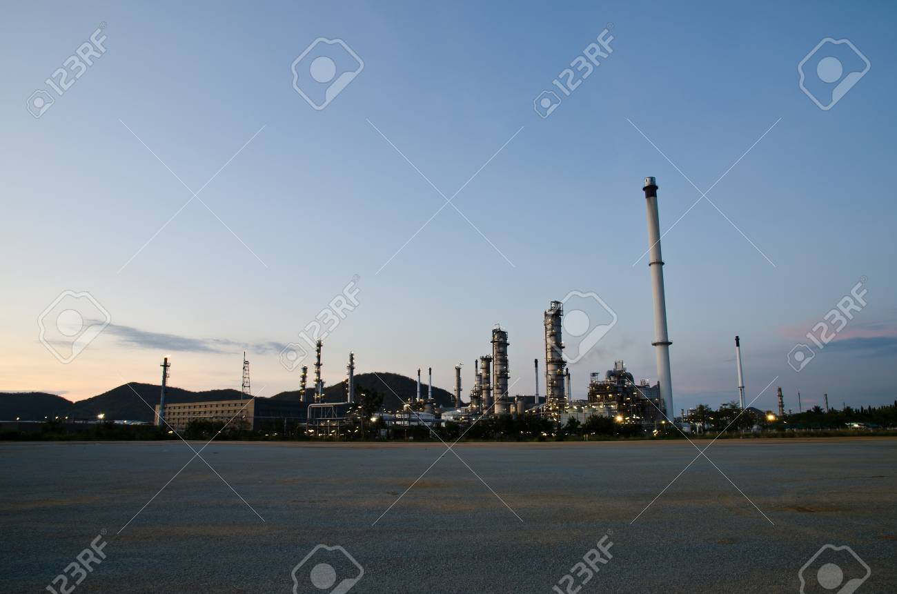 Petrochemical industry on sunset dark blue sky  Stock Photo - 13715234