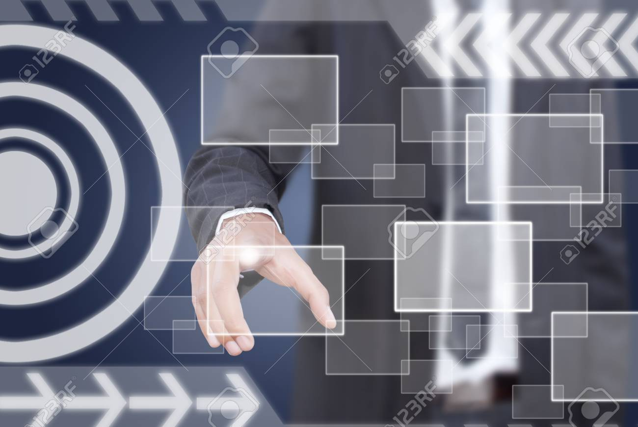 Businessman pushing digital button on touch screen interface Stock Photo - 14348635
