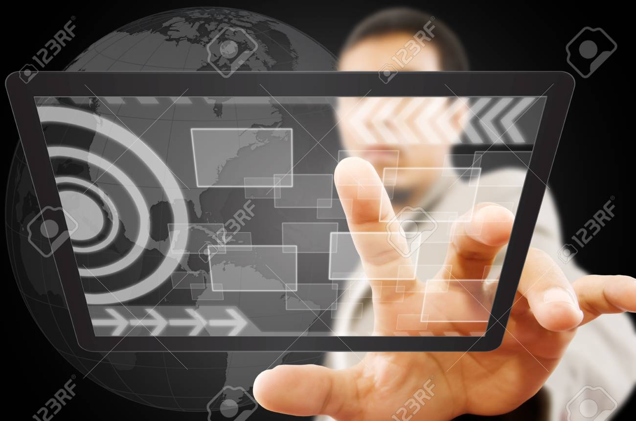 Businessman pushing digital button on tablet screen Stock Photo - 14348641