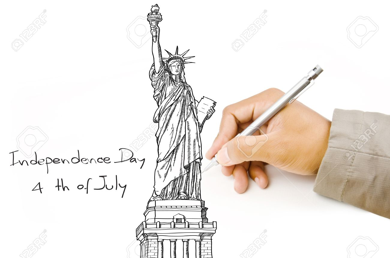 Hand drawing statue of liberty line in usa for independence