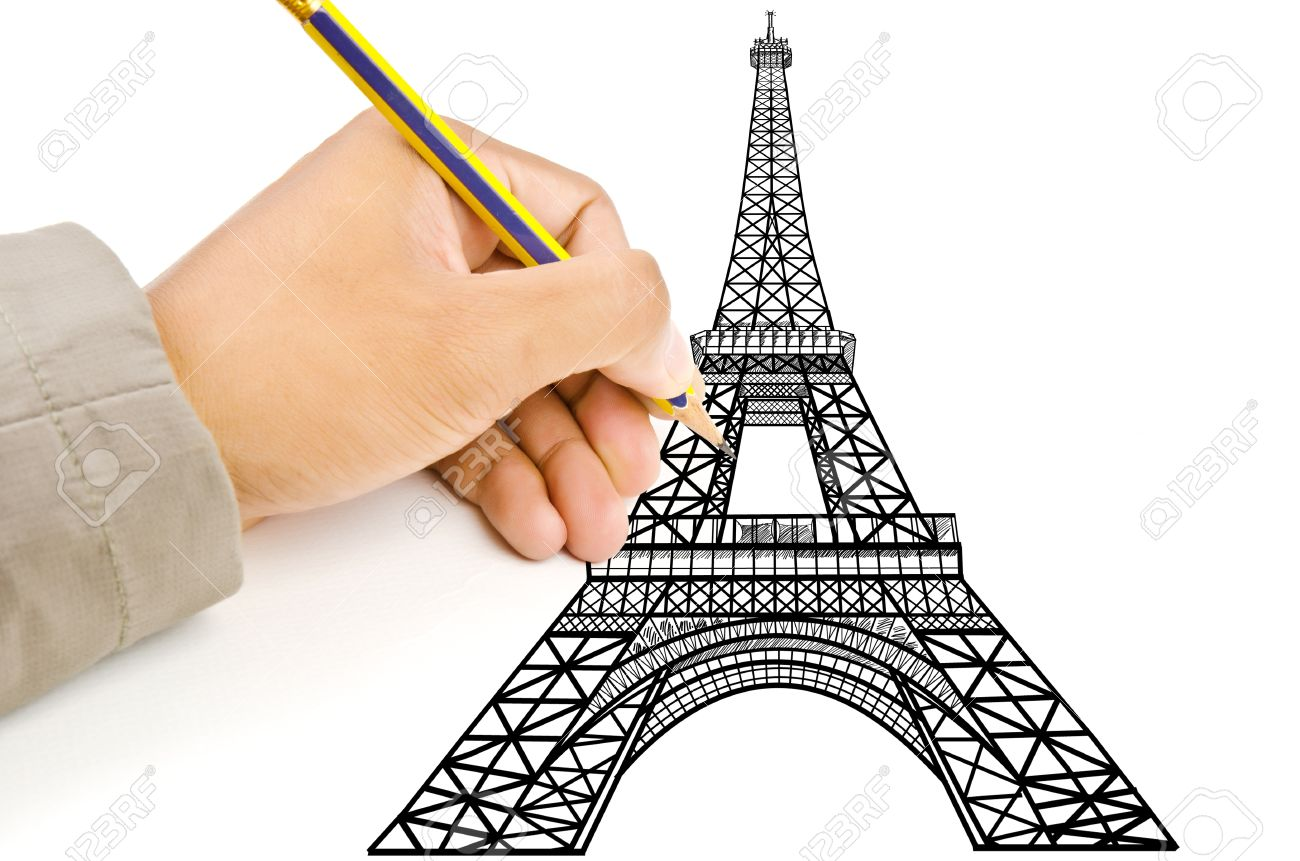 Hand drawing Eiffel Tower line  in Paris for construction Stock Photo - 14386266