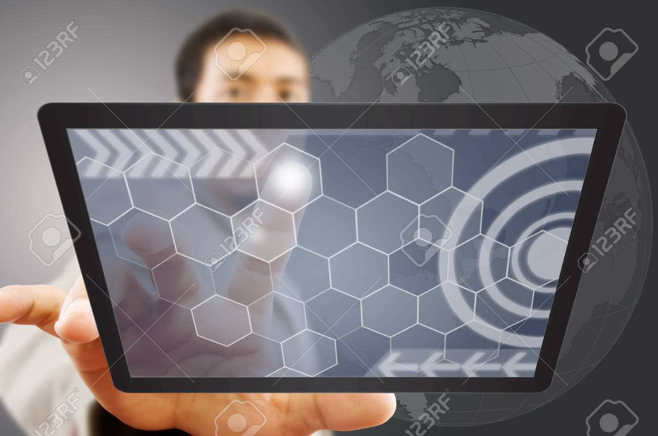 Businessman pushing digital button on tablet screen Stock Photo - 14503021