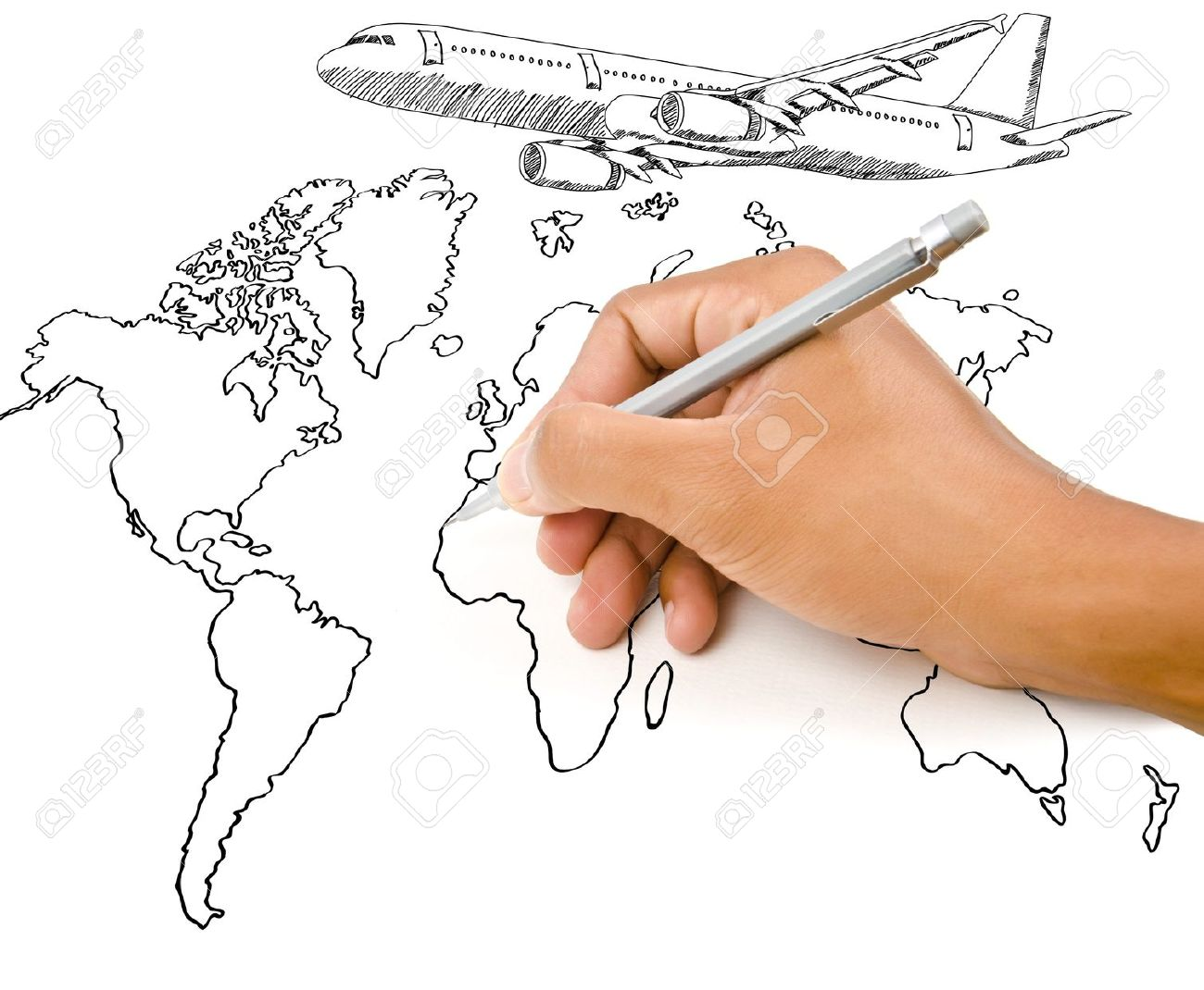 Hand drawing world map globe with airplane for travel around the hand drawing world map globe with airplane for travel around the world foto de archivo gumiabroncs Images