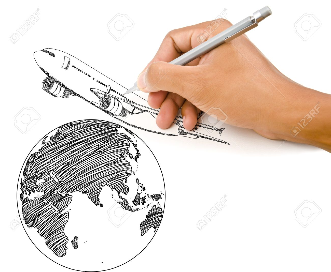 Hand drawing world map globe with airplane for travel around the hand drawing world map globe with airplane for travel around the world reklamn fotografie 14560490 gumiabroncs Choice Image
