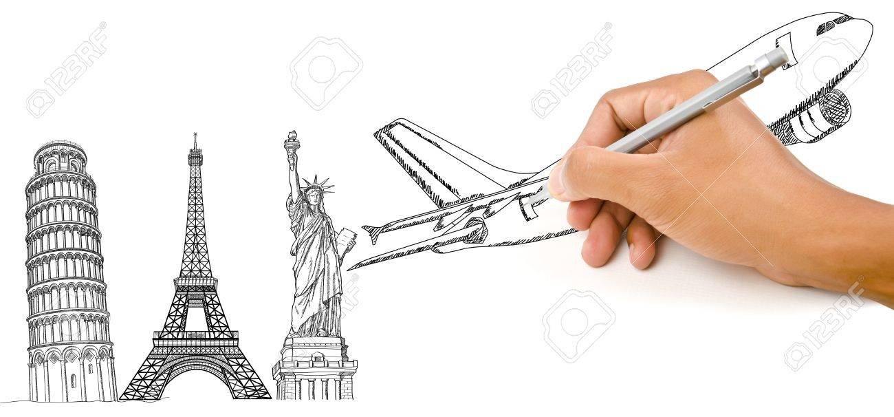 Hand Drawing Airplane for travel around the world with Pisa Tower, Eiffel Tower and Statue of Liberty Stock Photo - 14810345