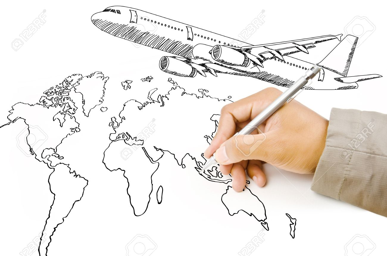 Hand drawing world map globe with airplane for travel around stock hand drawing world map globe with airplane for travel around the world stock photo 14774648 gumiabroncs Images
