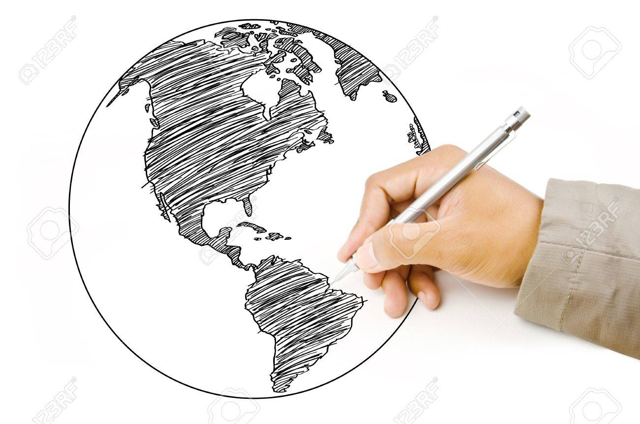 Hand drawing world map globe line on the whiteboard stock photo hand drawing world map globe line on the whiteboard stock photo 14924141 gumiabroncs Image collections