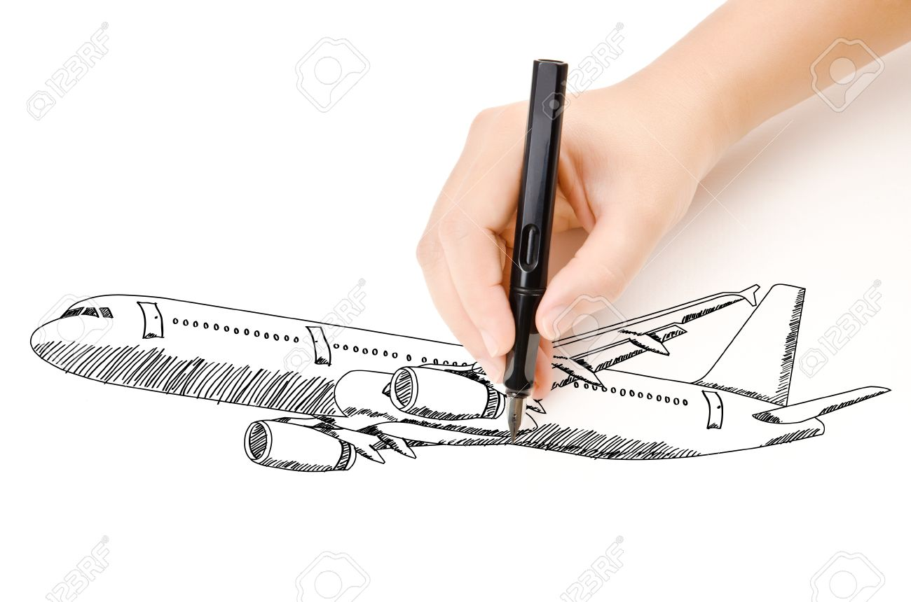 Hand Drawing Airplane For Travel Around The World Stock Photo