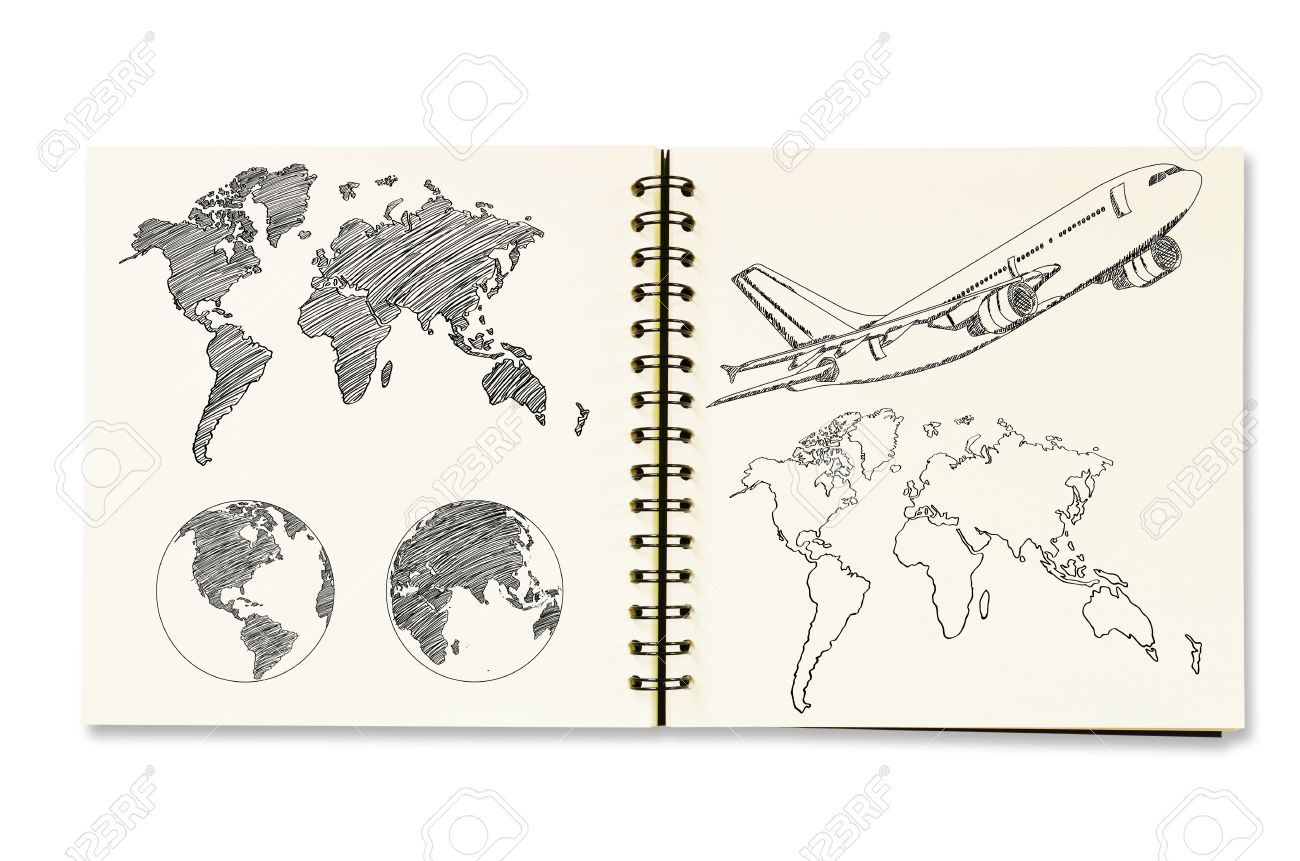 Earth globe and world map detail sketch up on the notebook stock earth globe and world map detail sketch up on the notebook stock photo 15135409 gumiabroncs Images