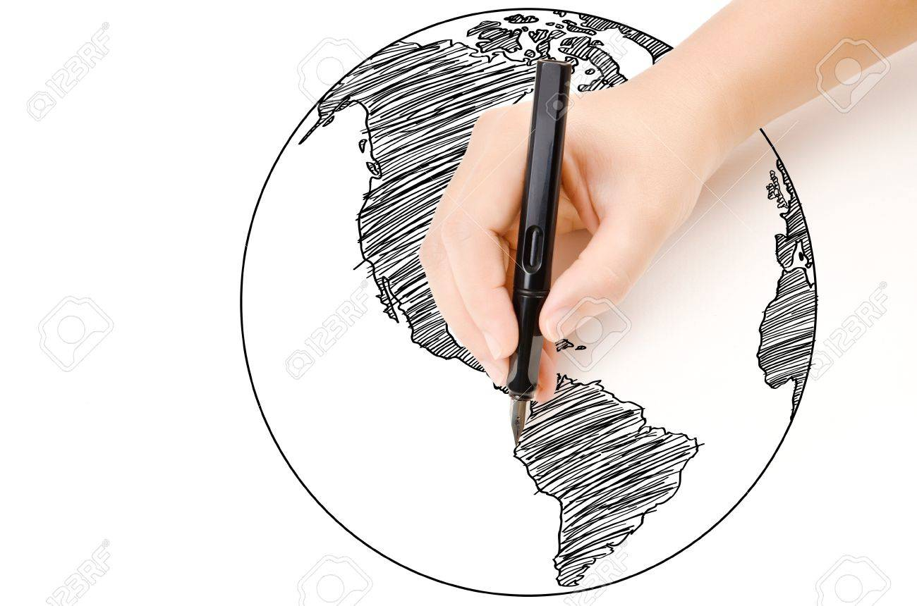 Hand drawing world map globe line on the whiteboard stock photo hand drawing world map globe line on the whiteboard stock photo 15708473 gumiabroncs Images