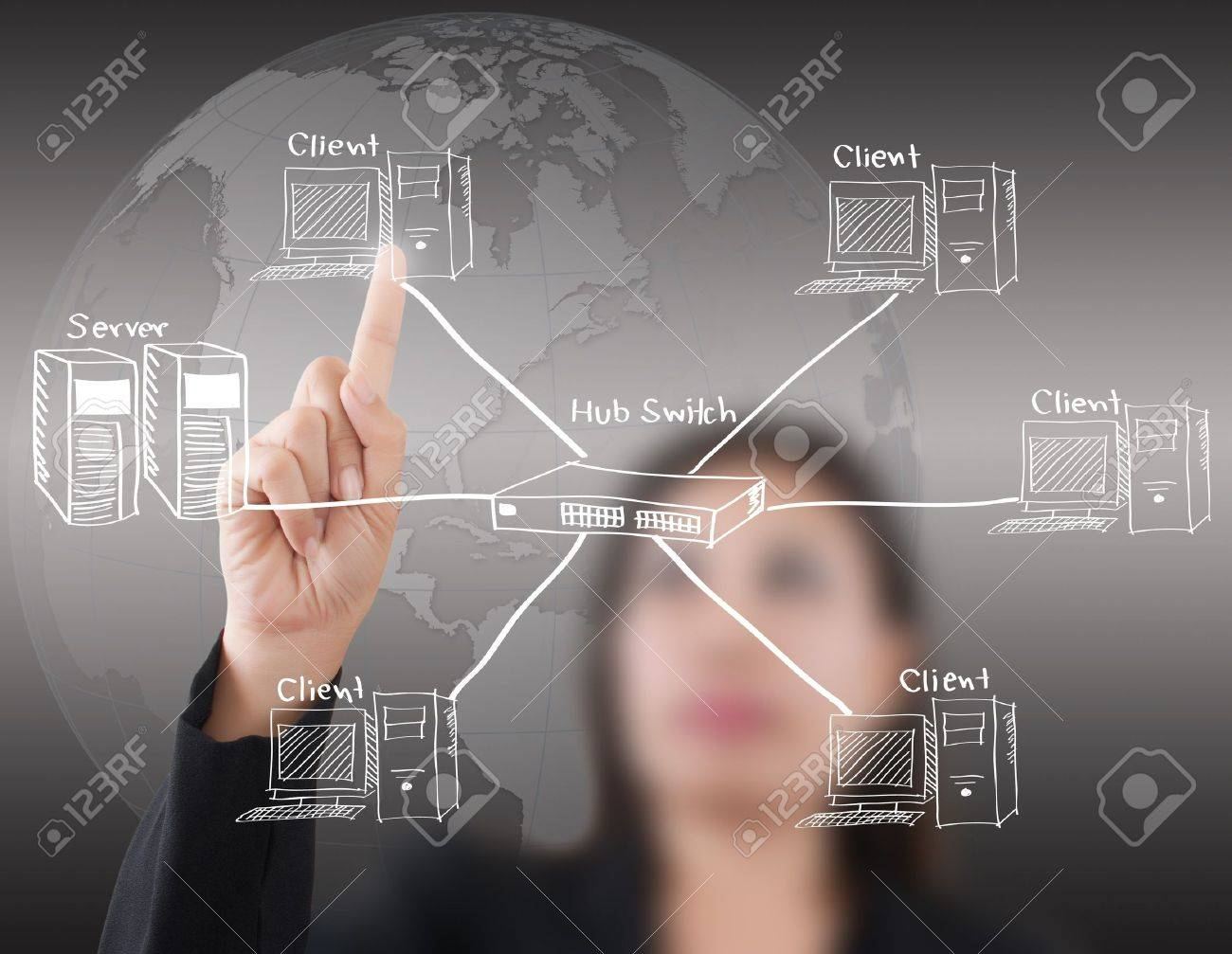 Business lady pushing LAN Network diagram on the whiteboard Stock Photo - 16271582