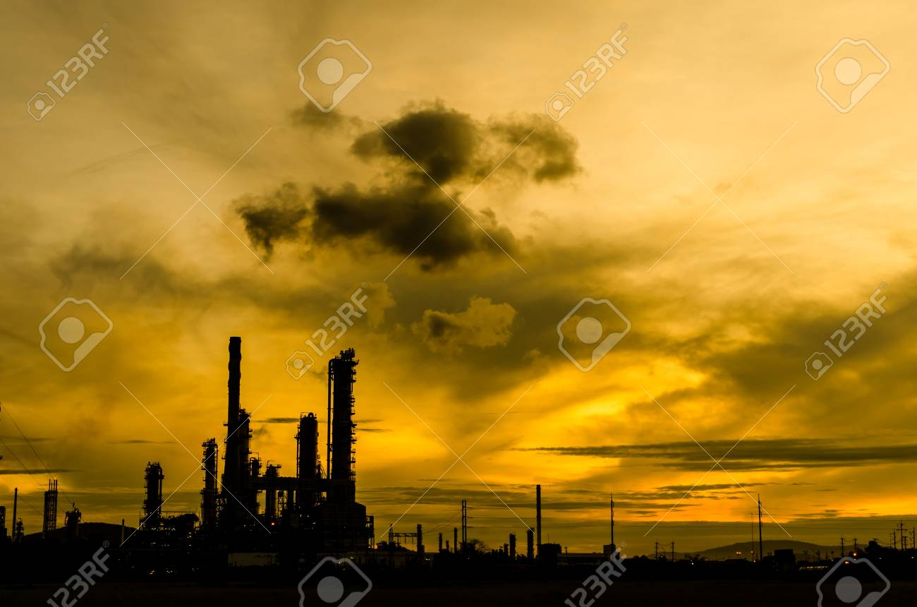 Oil refinery plant silhouette at twilight dark blue sky Stock Photo - 16215138