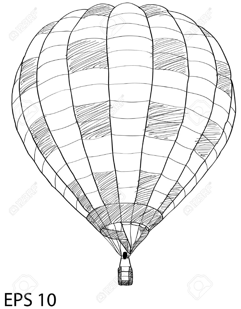 hot air balloon sketch up line stock vector 16669027