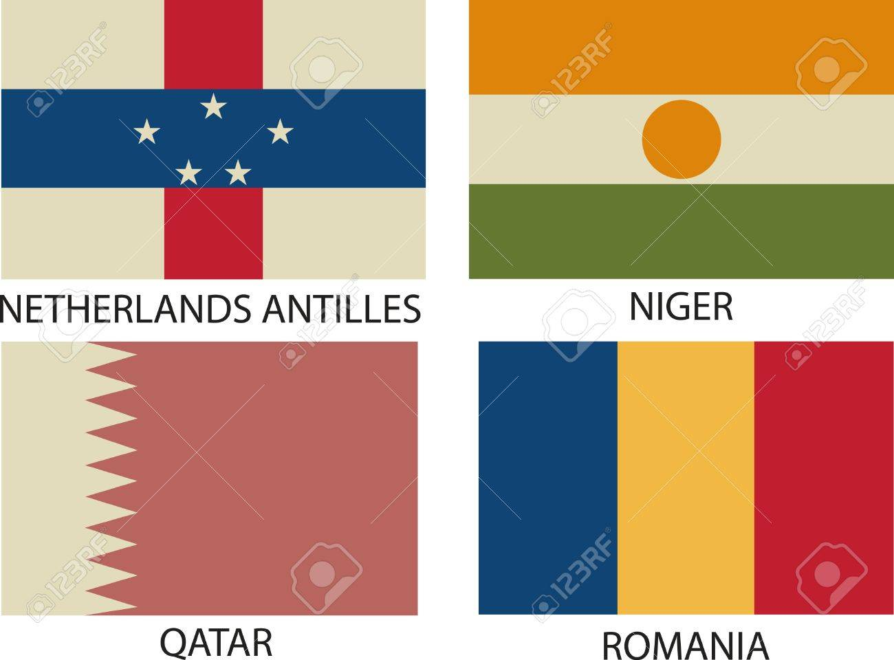National Flags Symbol Illustrator,  Vintage Style Stock Vector - 18250186