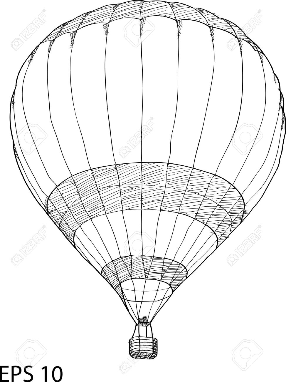 hot air balloon vector sketch up line stock vector 20928493