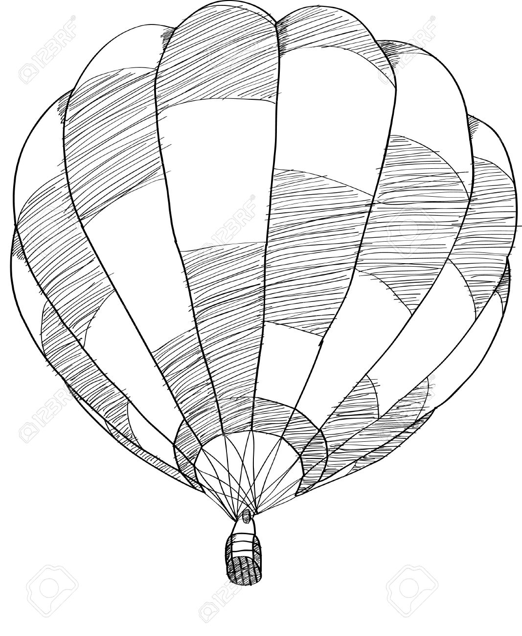 hot air balloon vector sketch up line stock vector 20928513