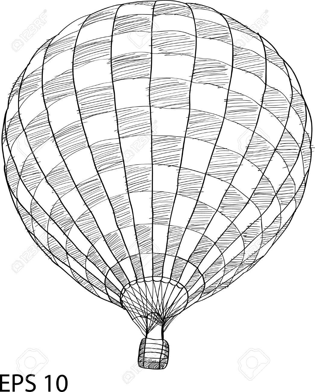 hot air balloon vector sketch hot air balloon basket sketch