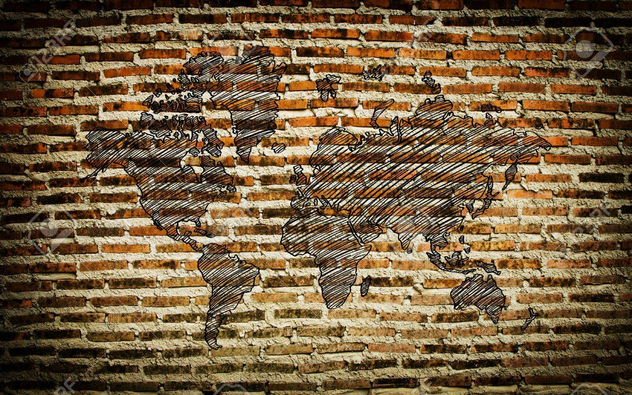 World Map Drawing on the wall Stock Photo - 21200255