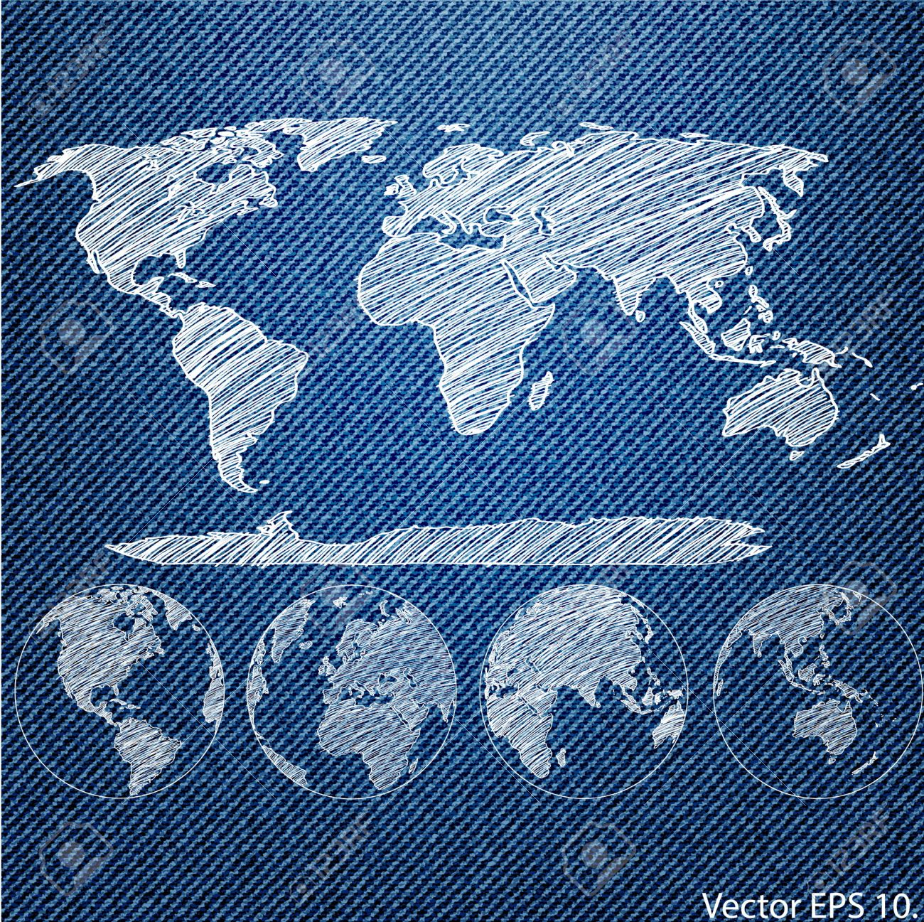 Vector of world map globe on the blue denim texture background vector of world map globe on the blue denim texture background stock vector 23655719 gumiabroncs Image collections