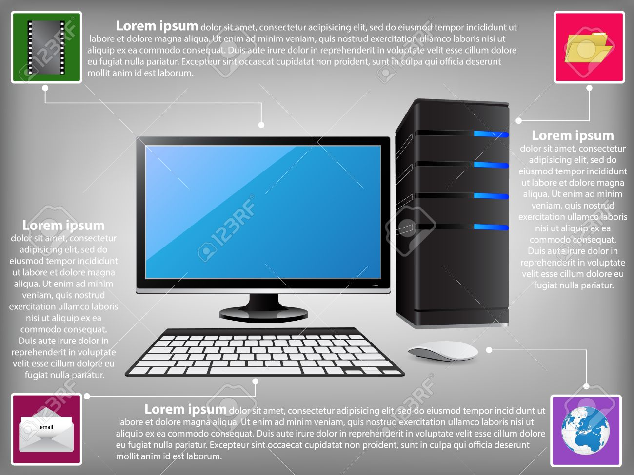 23655726 Infographic Diagram with Desktop Computer PC Technology and Business Concept Vector Illustration Stock Vector infographic diagram with desktop computer pc, technology and desktop computer diagram at fashall.co