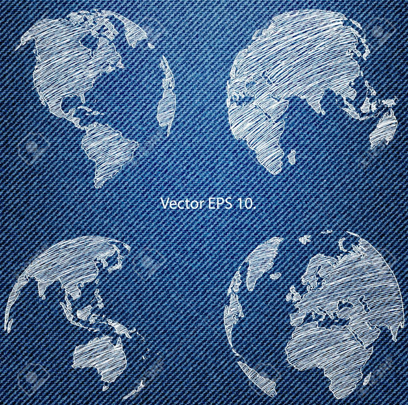 World map globe on the blue denim texture royalty free cliparts world map globe on the blue denim texture stock vector 24569997 gumiabroncs Image collections