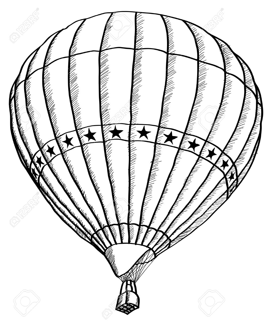 Doodle Of Hot Air Balloon Vector Sketch Up Line, EPS 10 Royalty Free ...