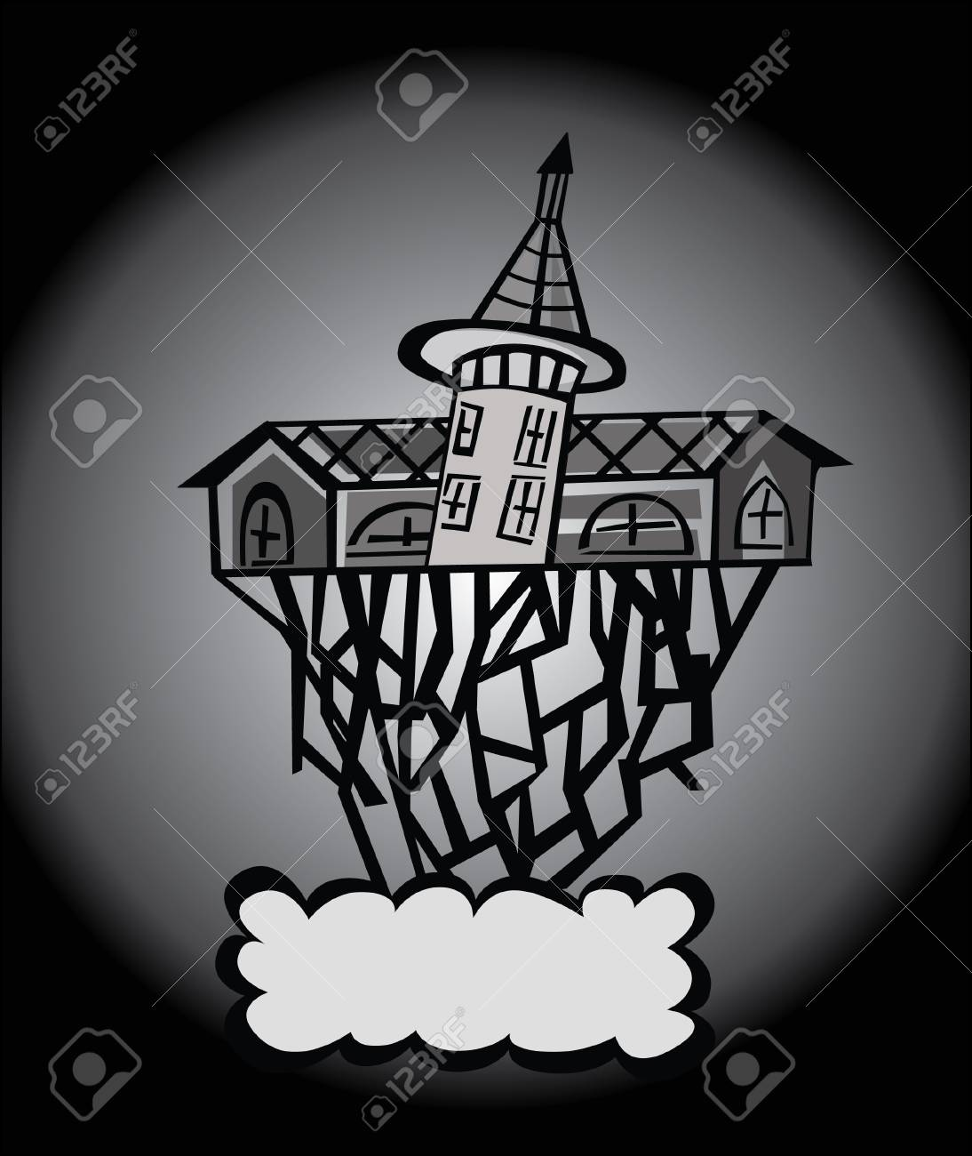 Vector - Art house Cocept The house was built with difficulty Stock Vector - 13973923