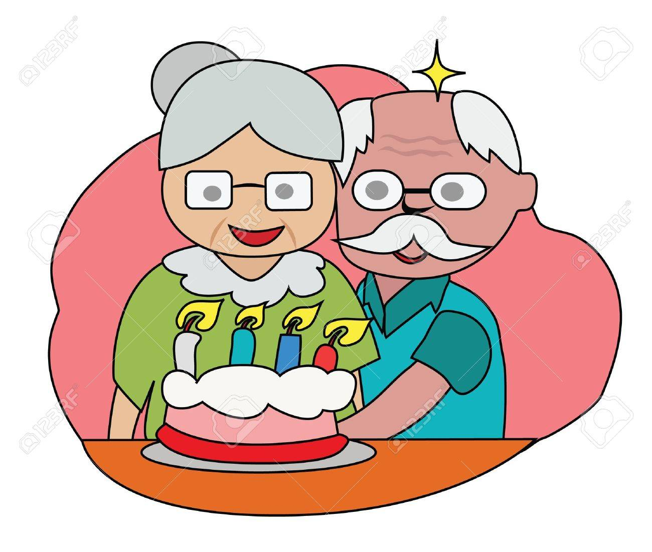Vector - Happy birthday The couple older happy with a cake Stock Vector - 13910469