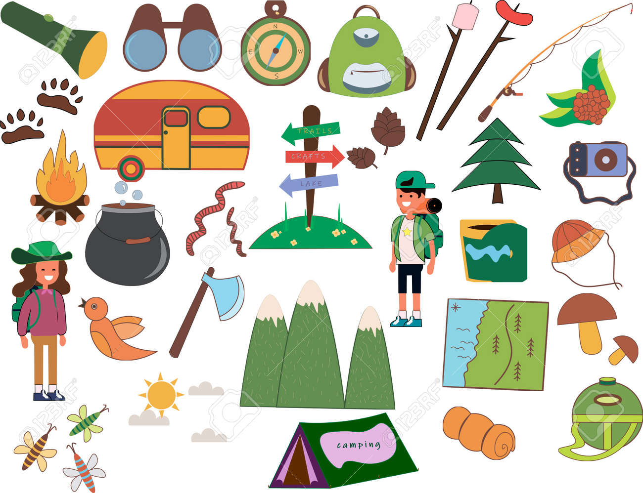 Set of camping of adventure. Equipment icon set in vector. - 159335645
